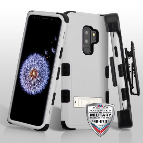 buy online 35645 49a60 Samsung Galaxy S9 Plus - Natural Gray TUFF Hybrid Case Cover (with  Stand)[Military-Grade Certified](with Black Horizontal Holster)