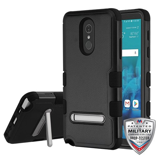 brand new dd251 57579 LG Stylo 4 - Natural Black TUFF Hybrid Case Cover With Stand[Military-Grade  Certified]