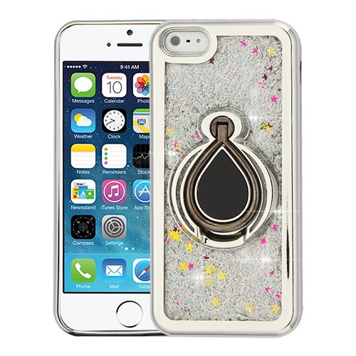 timeless design 167b3 89d35 Apple iPhone SE - Electroplating Silver/Silver Confetti Quicksand Glitter  Hybrid Case Cover Ring Finger Grip