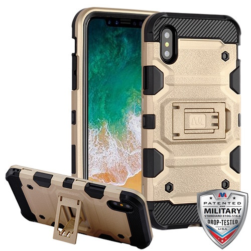 first rate 78d88 8a907 Apple iPhone X - Gold/Blackorm Tank Hybrid Case Cover [Military-Grade  Certified]