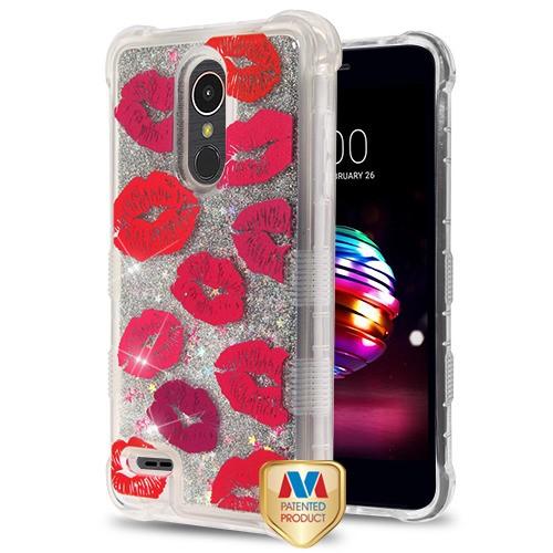 LG Premier Pro L413DL - Blissful Kisses/Silver TUFF Quicksand Glitter Lite  Hybrid Case Cover