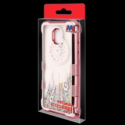 Samsung Galaxy J3 Orbit - Rose Gold Electroplating/Dreamcatcher/Silver  Flowing Sparkles TUFF Quicksand Glitter Lite Hybrid Case Cover