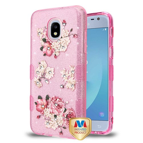 size 40 64dc9 18686 Samsung Galaxy J3 Eclipse 2 - European Peony (Pink) Diamante Full Glitter  TUFF Hybrid Case Cover