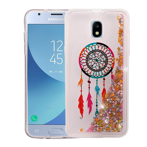 official photos 26c7b a0b58 Samsung Galaxy Amp Prime 3 - Dreamcatcher & Gold Stars Quicksand Glitter  Hybrid Case Cover