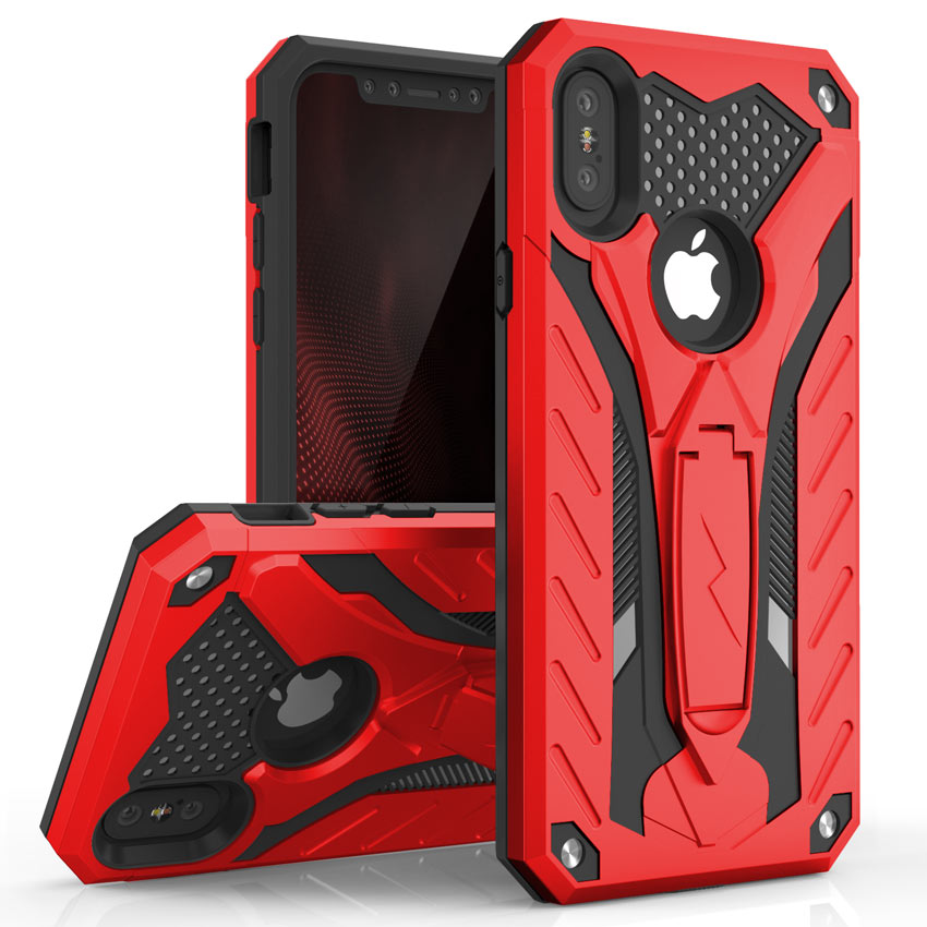 official photos 26d6e c1518 Apple iPhone X - Static Dual Layer Hybrid Case Cover Kickstand - Red ...