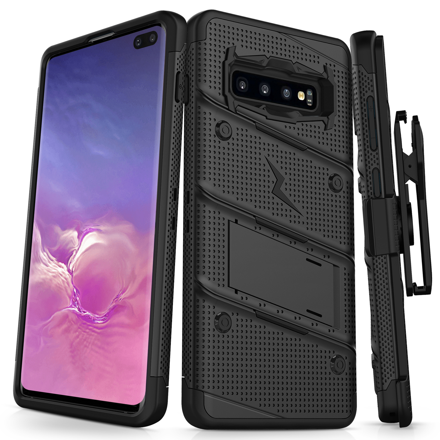 Samsung Galaxy S10 Plus// S10 PC-Red Case W Built-in Kickstand Rotatable Combo Holster Phone Belt Clip Shock Absorption Heavy Duty Protective case