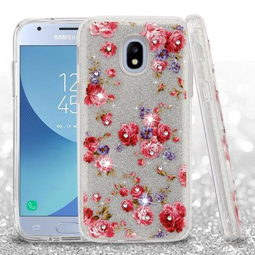 Samsung Galaxy Amp Prime 3 - Vintage Rose Bush Full Glitter Hybrid Case  Cover (with Diamonds)