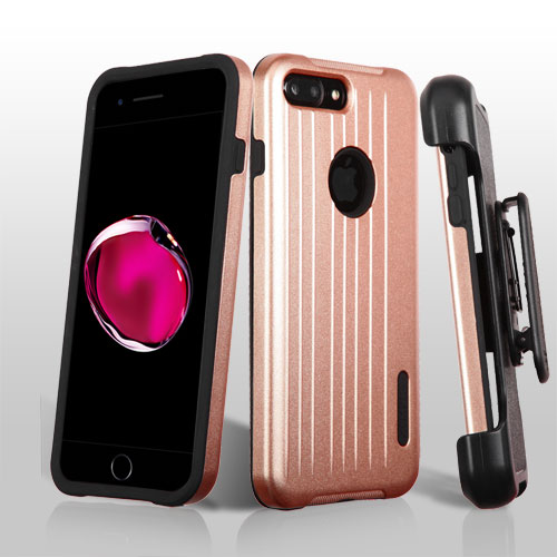 Apple Iphone 7 Plus Rose Gold Black Carry On Hybrid Case Cover