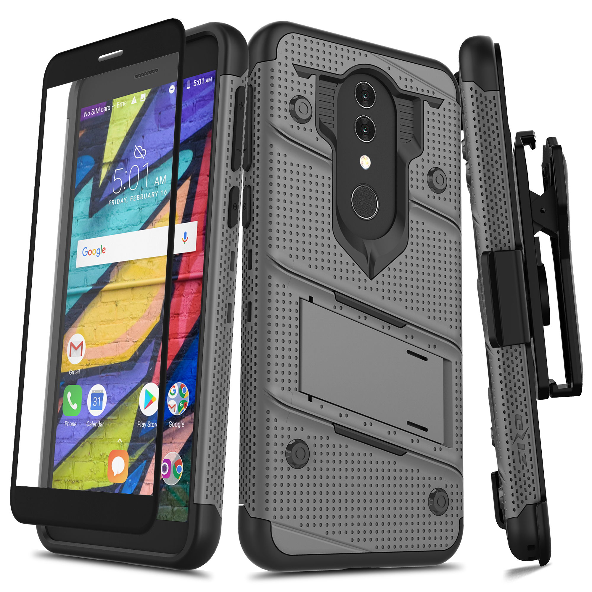Alcatel 1X 2019 - BOLT Case with Built In Kickstand Holster and Full Glass  Screen Protector (Metal Gray/Black)
