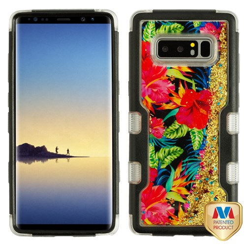 Samsung Galaxy Note 8 - Natural Black/Electric Hibiscus & Gold Sparkles  Liquid Flowing TUFF Quicksand Glitter Hybrid Case Cover