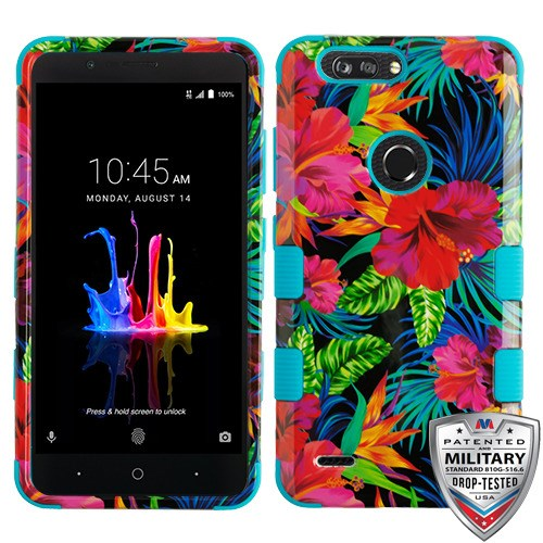 outlet store c2c5e cb36a ZTE Blade Z Max Z982 - Electric Hibiscus/Tropical Teal TUFF Hybrid Phone  Case Cover [Military-Grade Certified]