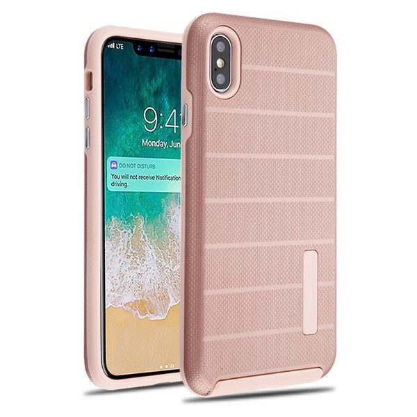 Apple Iphone Xs Max Rose Gold Dots Textured Rose Gold Fusion Case