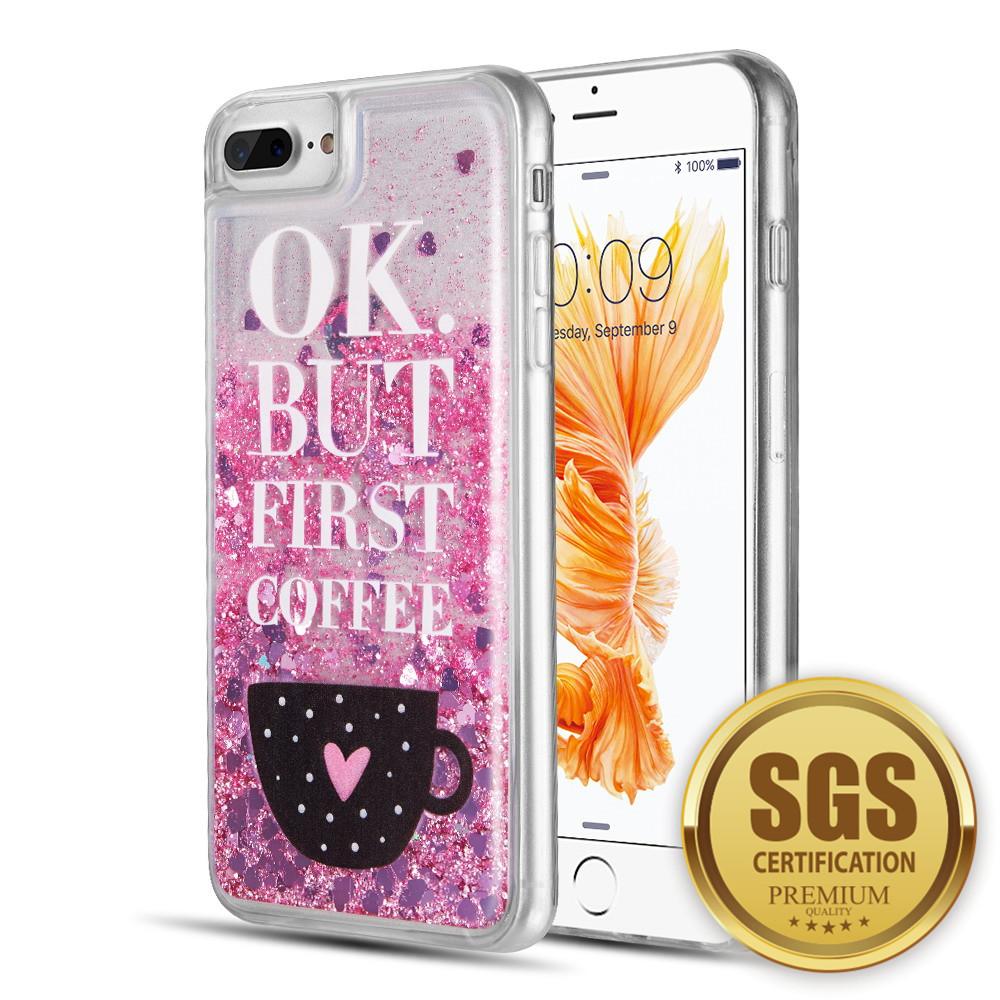 purchase cheap 4a177 23d88 Apple iPhone 8 Plus - Waterfall Liquid Sparkling Quicksand TPU Case -  Coffee First