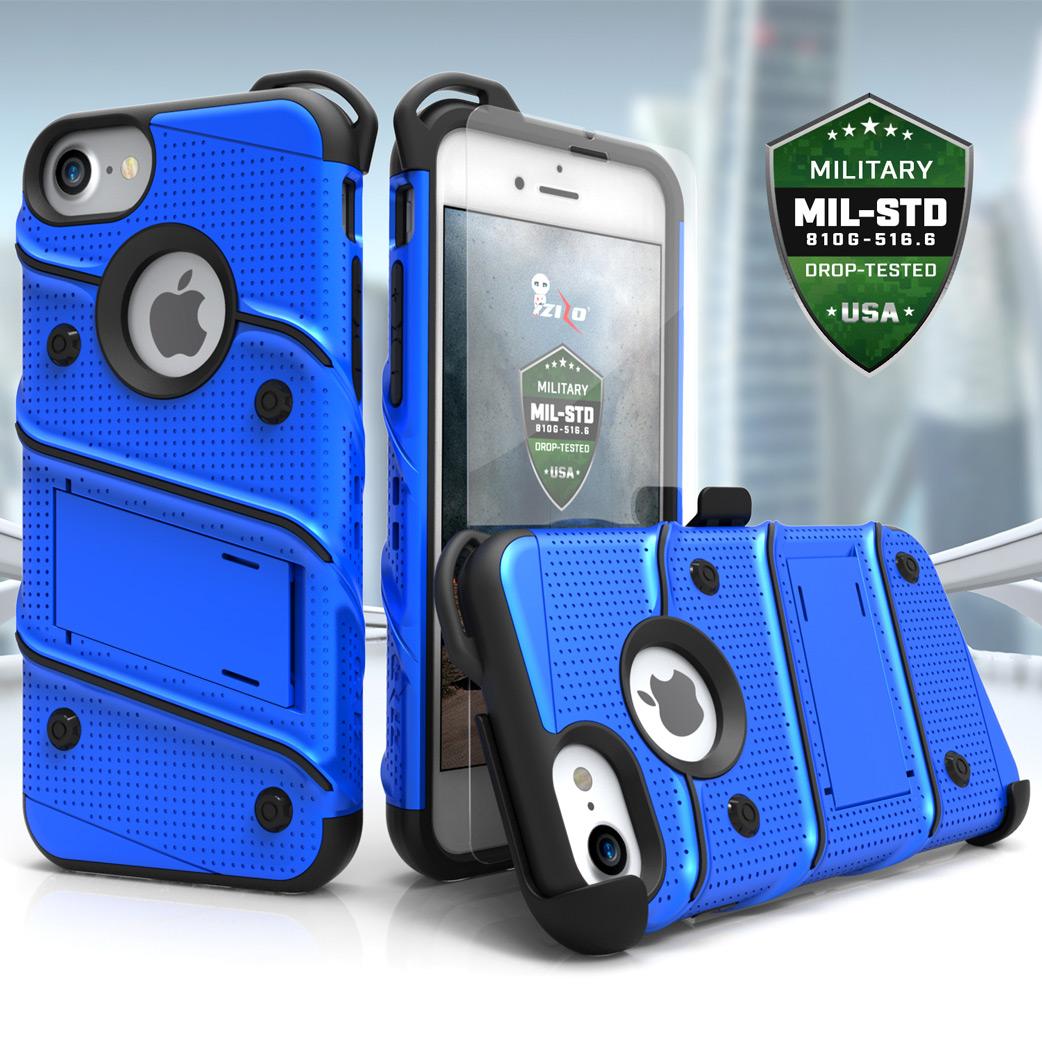zizo bolt series iphone 8 / 7 tough case & belt clip - black