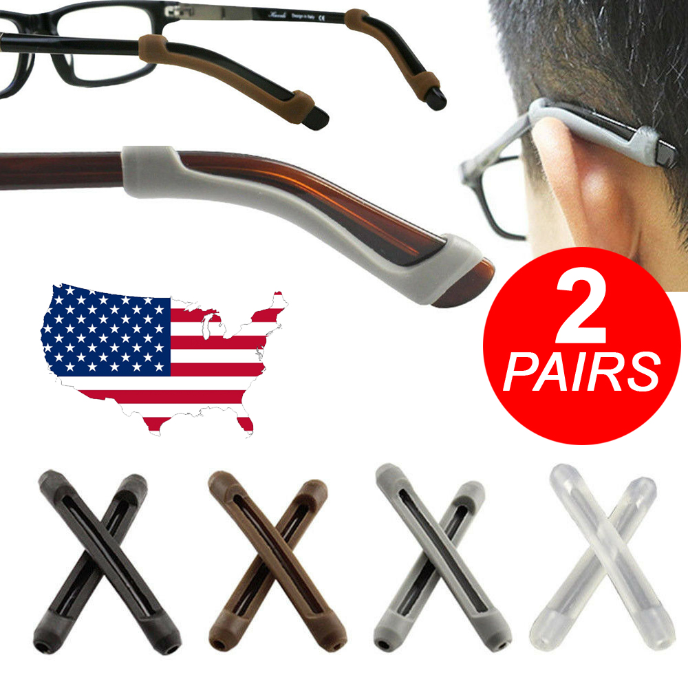 2 Pair Silicone Anti Slip Skid Ear Hook Pads for Eyeglasses Sunglasses Frame Health & Beauty