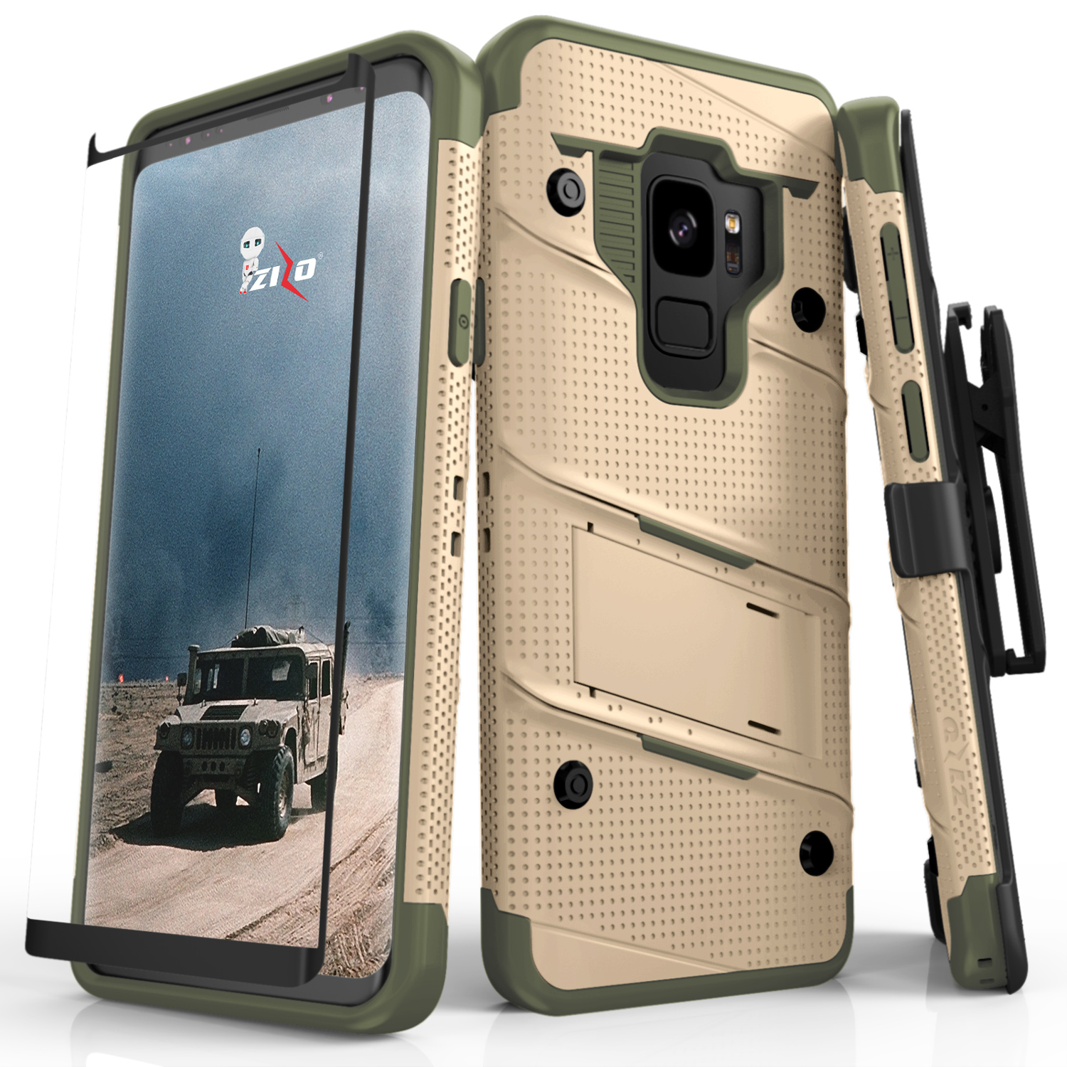 new styles 374e3 c50b9 Samsung Galaxy S9 - BOLT Case Cover With Kickstand Holster Full Curved  Glass Screen Protector, Lanyard - Camo Green