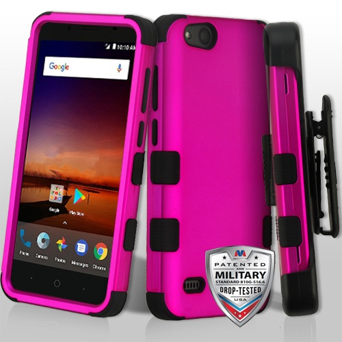 ZTE Avid 4 Z855 - Titanium Solid Hot Pink/Black TUFF Hybrid Phone Case  Cover [Military-Grade Certified](with Black Horizontal Holster)