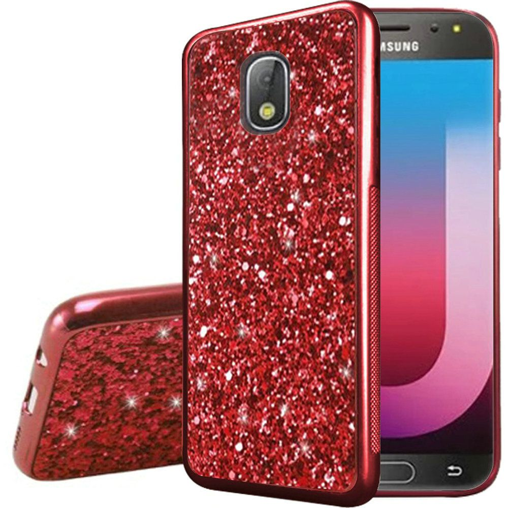 new product acb45 dc42c Samsung Galaxy J7 Refine - Case Metallic Chrome Finish Design Frozen  Glitter Bling Hybrid - Red