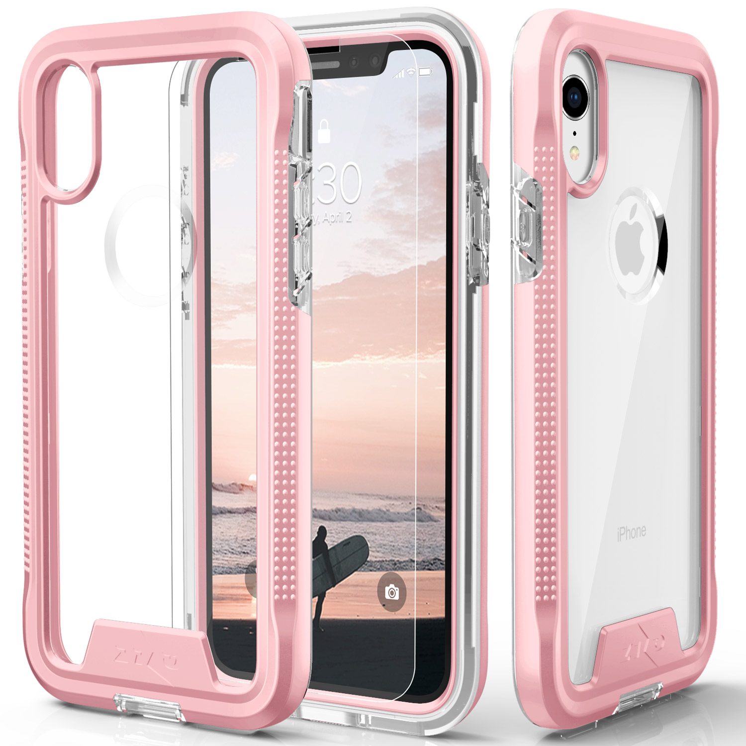 new arrival 496ac 71408 Apple iPhone XR- Zizo ION Triple Layered Hybrid Case with Tempered Glass  Screen Protector (Rose Gold/Clear)