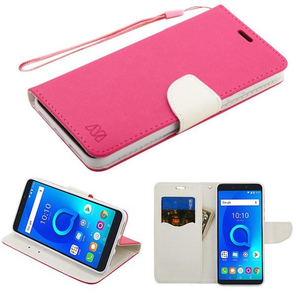 T-Mobile Revvl 2 Plus - Hot Pink Pattern/White Liner MyJacket Wallet Flip  Case Cover