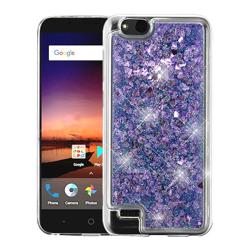 best loved 7a077 4c47d ZTE Blade Vantage Z839 Hearts & Purple Quicksand Glitter Hybrid Case Cover