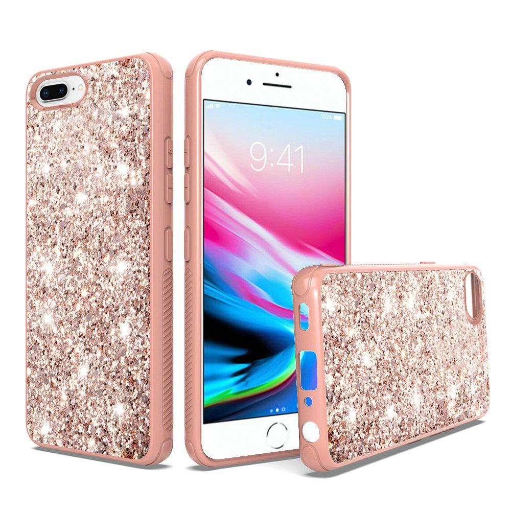 Apple Iphone 7 Plus Metallic Chrome Case Frozen Glitter Bling Cover Rose Gold Cellphonecases Com