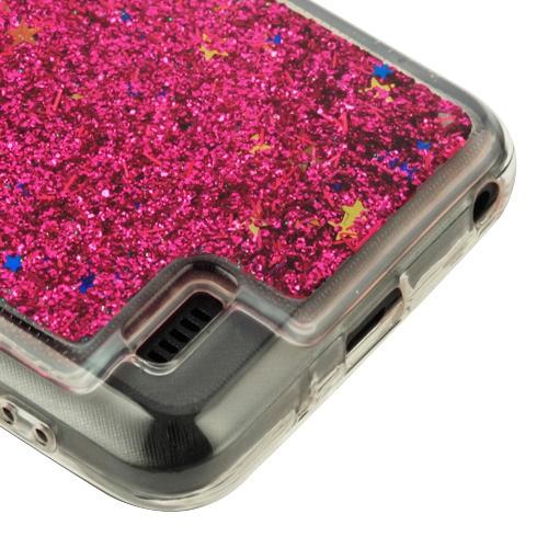 ZTE ZFIVE G LTE Z557BL Hot Pink Quicksand Glitter Hybrid Case Cover