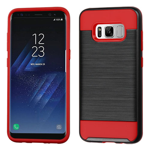 best website e87e9 f35db Samsung Galaxy S8 Plus - Black/Red Brushed Hybrid Case Cover