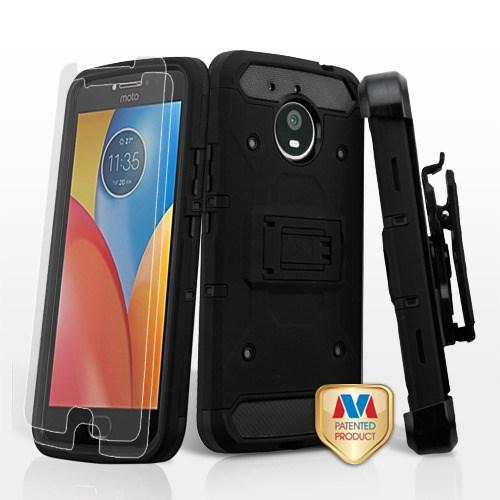 reputable site 361e0 69a4e Motorola Moto E4 Plus XT1773 - Black/Black 3-in-1 Kinetic Hybrid Case Cover  Combo (Holster)(Tempered Glass Screen Protector)