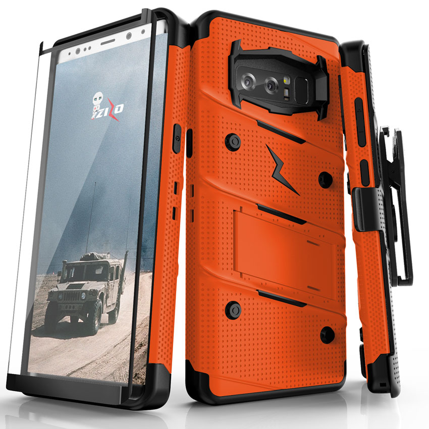 finest selection 5a042 a24bb Samsung Galaxy Note 8 - BOLT Case with Kickstand, Holster, Curved Full  Glass Screen Protector, Lanyard - Orange