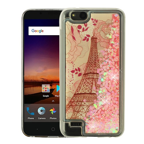 reputable site 9bddd 1e6fa ZTE Tempo X N9137 Eiffel Tower & Pink Hearts Quicksand Glitter Hybrid Case  Cover