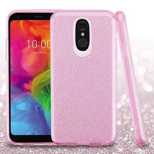 LG Q7+ Q7 Plus - Pink Full Glitter Hybrid Case Cover