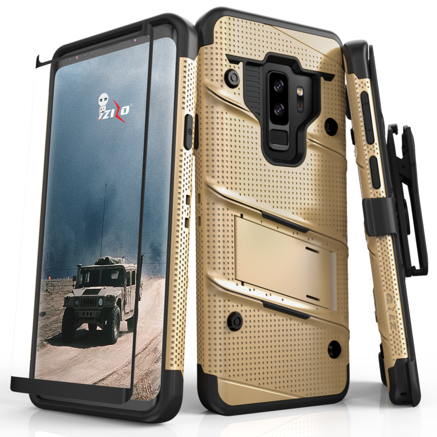 huge discount 8a561 9167a Samsung Galaxy S9 Plus - BOLT Case Cover With Kickstand Holster Full Curved  Glass Screen Protector, Lanyard - Gold