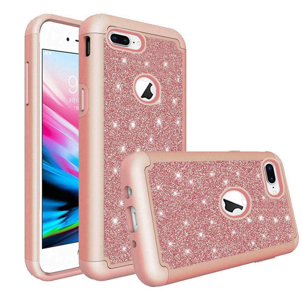 Apple Iphone 7 Plus Glitter Case Bling Diamond Tough Hybrid Rose Gold