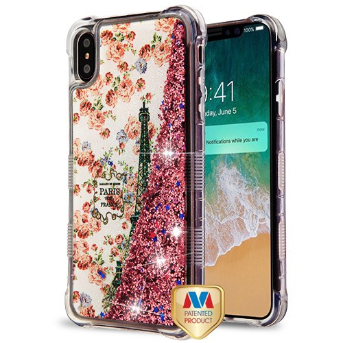 huge discount 00cd1 a6b9a Apple iPhone XS Max - Paris in Full Bloom/Rose Gold Flowing Sparkles TUFF  Quicksand Glitter Lite Hybrid Case Cover