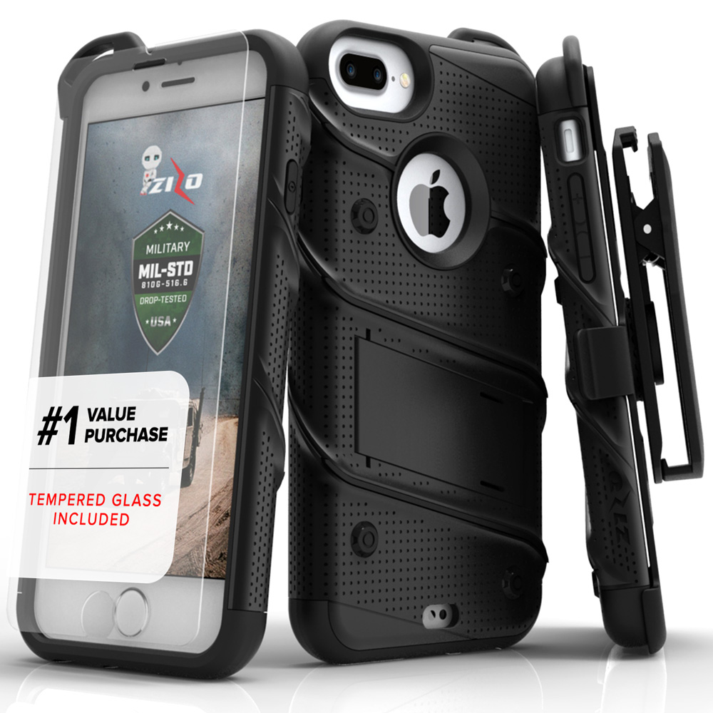 newest 6e355 42141 Apple iPhone 8 Plus - BOLT Case Cover Kickstand Holster Tempered Glass -  Black