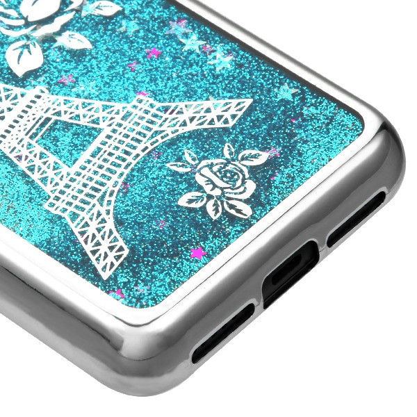 Alcatel TCL LX A502DL - Silver Electroplating/Eiffel Tower/Blue Quicksand  Glitter Hybrid Case Cover