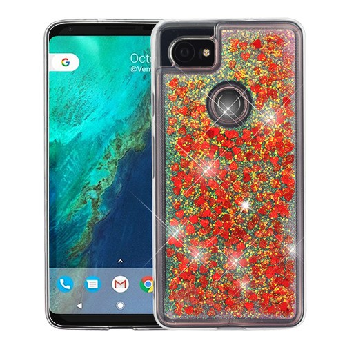 online retailer 1aa08 934c1 Google Pixel 2 XL Hearts & Red Quicksand Glitter Hybrid Case Cover