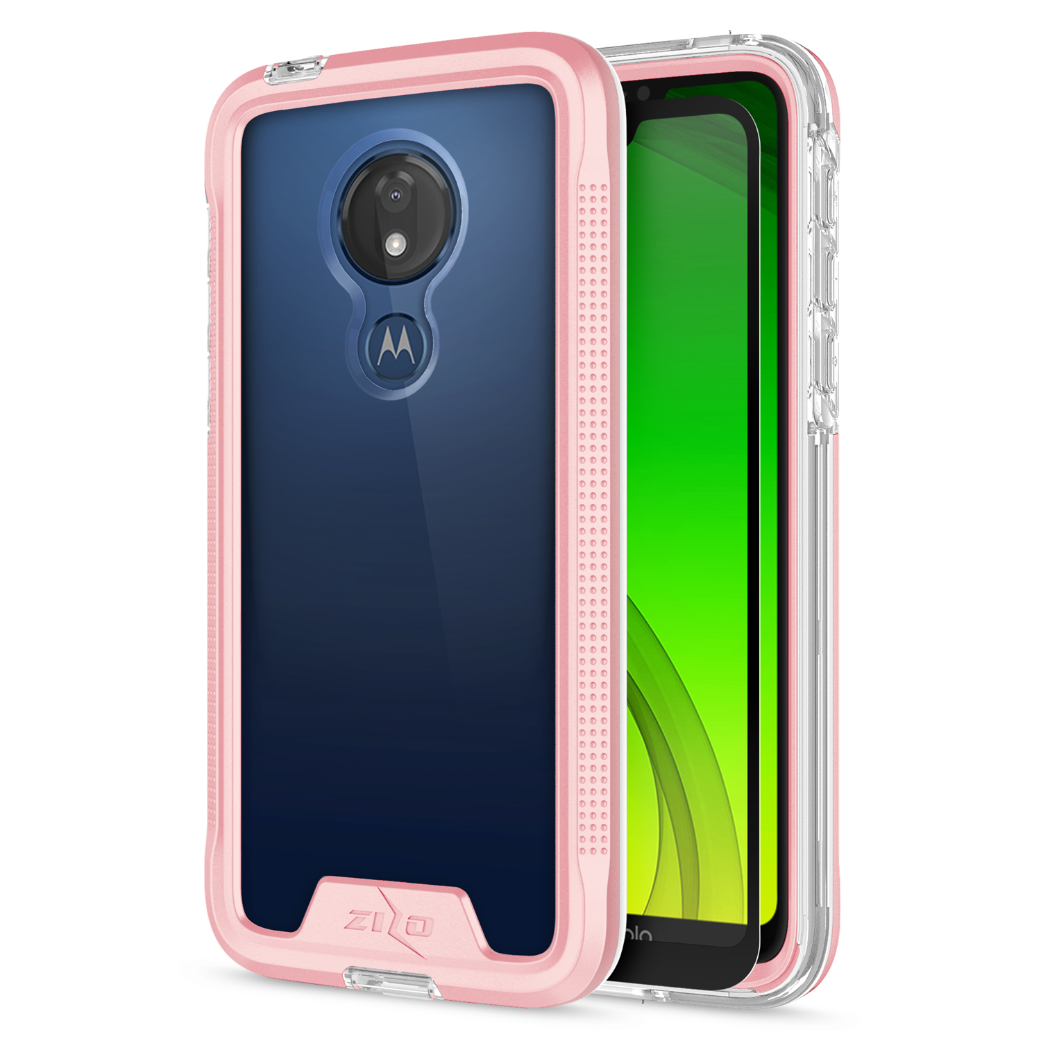 Motorola Moto G7 Optimo Maxx - Zizo ION Case Military Grade with Tempered  Glass Screen Protector (Rose Gold/Clear)